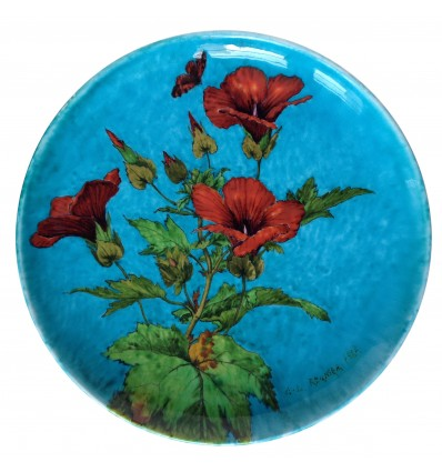 Théodore Deck (1823-1891) et A.L. Regnier - Plat en céramique à décor de fleurs