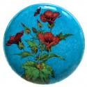 Théodore Deck (1823-1891) et A.L. Regnier Céramique Assiette Decor Fleurs Malope